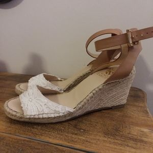 Vince Camuto White Lace Front with Twine Wedge